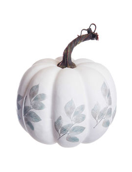 """White Pumpkin With Leaves, 7""""White Pumpkin With Leaves, 7"""" by At Home"""