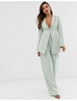 Asos Edition Cutaway Blazer &Amp; Wide Leg Trouser Suit In Sage by Asos