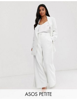 Asos Edition Petite Double Breasted Jacket &Amp; Wide Leg Trouser In White by Asos