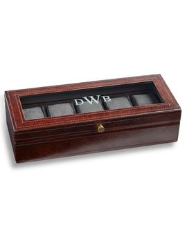 Personalized Saddle Leather Watch Box   Chocolate by Pottery Barn