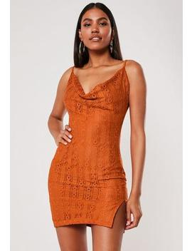 Rust Lace Cowl Neck Mini Dress by Missguided