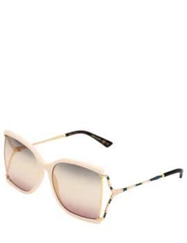 Squared Metal Sunglasses W/ DegradÉ Lens by Gucci
