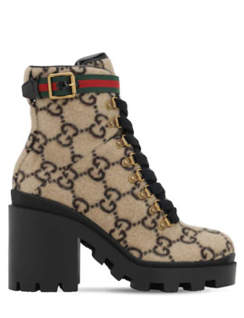 70 Mm Wool Blend Felt Ankle Boots by Gucci