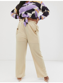 Pink Clove Wide Leg Trouser With Button Detail In Beige by Pink Clove