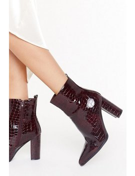 Faux Croc Block Heel Ankle Boots by Nasty Gal