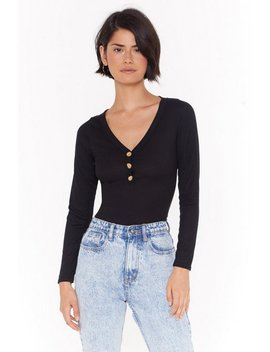 Press It Ribbed Button Top by Nasty Gal