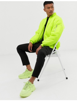 Boohoo Man Oversized Bomber Jacket In Neon Yellow by Boohoo Man