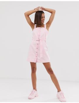 Bershka Denim Pini Dress In Pink by Bershka