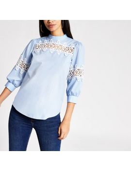 Blue Lace Long Sleeved Top by River Island