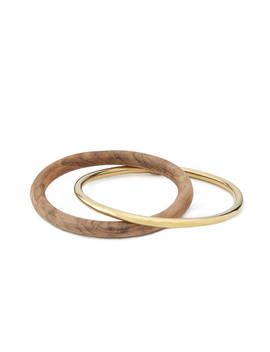 Brass And Teak Bangles by Uncommon Goods