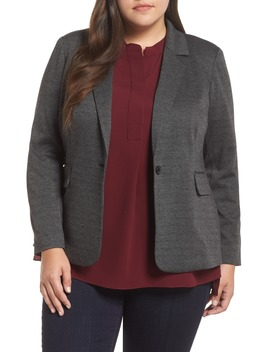 Mélange Herringbone Single Button Blazer by Vince Camuto
