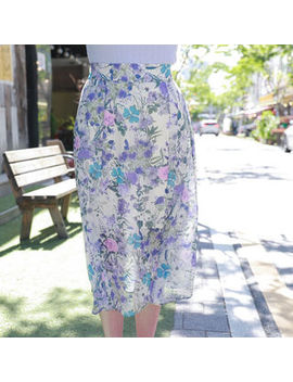 My Fiona   Floral Long Chiffon Skirt by My Fiona