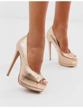 Asos Design Playful Platform High Heels In Rose Gold by Asos Design
