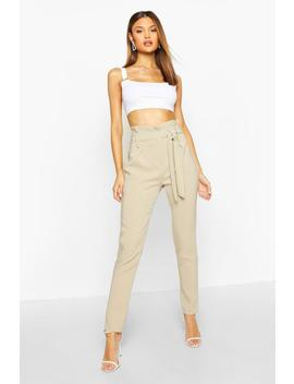 Paperbag Belted Woven Trouser by Boohoo