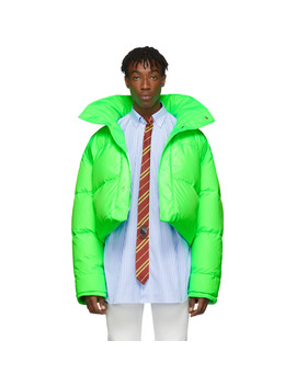 Reversible & Convertible Green Down Fluorescent Puffer Jacket by Vetements