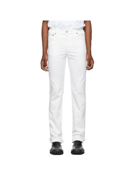White Fitted 5 Pocket Jeans by Balenciaga