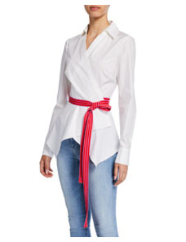 Leah Belted Long Sleeve Wrap Blouse by Diane Von Furstenberg