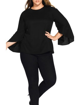 Romance Me Split Bell Sleeve Top by City Chic