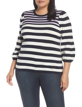 Stripe Blouson Sleeve Sweater by Cece