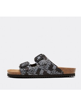womens-allover-logo-print-sandal-|-black by tommy-hilfiger
