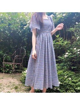 Eyashu   Short Sleeve Plaid A Line Midi Dress by Eyashu