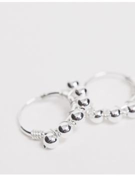 Kingsley Ryan Sterling Silver Ball Detail Hoop Earrings by Kingsley Ryan