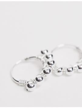 Kingsley Ryan Sterling Silver Ball Detail Hoop Earrings by Kingsley Ryan
