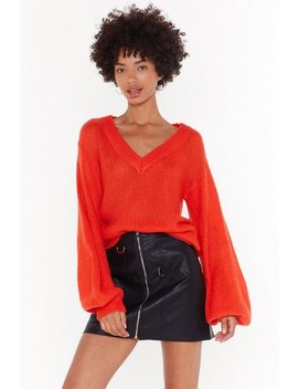 You Can Count On V Relaxed Knit Sweater by Nasty Gal