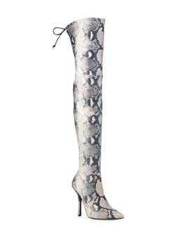 Arla Thigh High Snake Print Boots by Stuart Weitzman