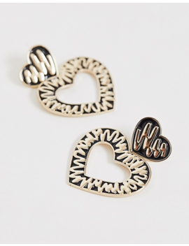 Liars &Amp; Lovers Exclusive Black &Amp; Gold Scribble Heart Earrings by Liars & Lovers