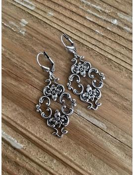 Art Nouveau Victorian Filigree Long Dangle Earrings Antique Sterling Silver Plated Lever Back Flower Floral Motif by Etsy