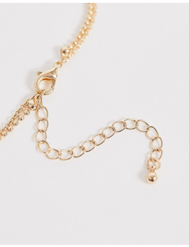 Asos Design Multirow Necklace With Cubic Zirconia Cross And Tag Pendants In Gold Tone by Asos Design