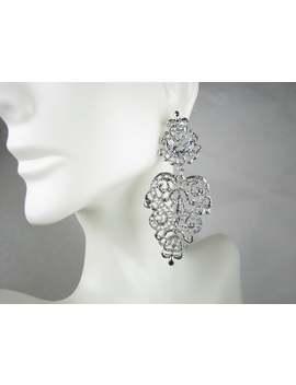 Nos Vintage   Art Nouveau Silver Earrings, New Vintage | Ornate Filigree | Scrolling Silhouette | Large Chandelier Earrings, Costume Jewelry by Etsy