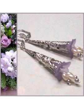 Lavender Lace Lucite Flower Filigree Earrings, Bridesmaid Earrings, Victorian Earrings, Long Dangle Earrings, Vintage Style, Ravengirl by Etsy