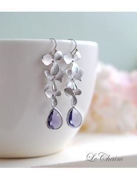 Matte Silver Orchid Flowers Trio Purple Tanzanite Teardrop Glass Earrings. Wedding Jewelry, Bridal Earrings, Bridesmaid Gift Earrings by Etsy