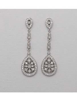 Long Art Deco Earrings, Cubic Zirconia Earrings, Art Deco Wedding Earrings, Bridal Jewelry, Paris Silver Long Art Deco Earrings by Etsy