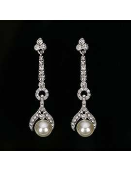 Art Deco 1920's Vintage Pearl Earrings Long Drop Dangle Crystal Rhinestone Diamante Silver Wedding Bridal by Etsy
