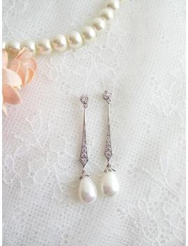 Long Pearl Earrings, Dainty Earrings, Bride Chandalier Earrings, Wedding Earrings, Cz Earrings, Bridal Jewelry, Edwardian Earrings, Da by Etsy
