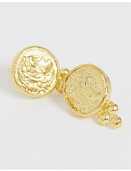 Ottoman Hands Exclusive Gold Plated Coin Stud Earrings by Ottoman Hands