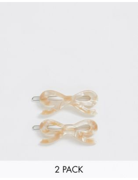 Margherita Caramel Resin Bow Hair Clips   2 Pack by Asos