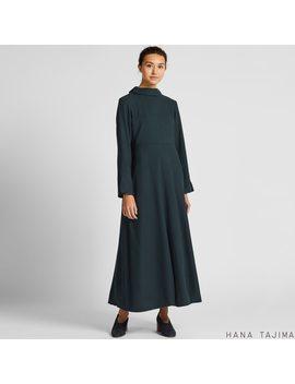 Women Flannel Flare Long Sleeve Long Dress (Hana Tajima) by Uniqlo