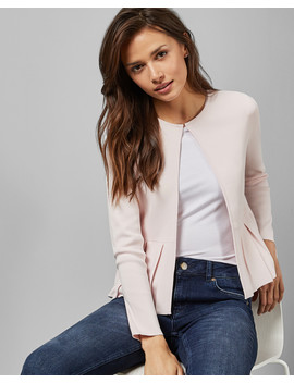 Pleat Insert Peplum Cardigan by Ted Baker