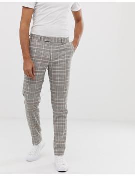 Asos Design – Grårutiga Kostymbyxor Med Smal Passform by Asos Design