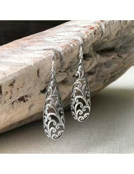 Long Silver Filigree Earrings, Filigree Teardrop Earrings, Festival Accessories, Filigree Jewelry, Silver Jewelry, Gift For Her by Etsy