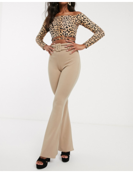Pretty Little Thing Flared Trousers With Belt In Beige by Pretty Little Thing