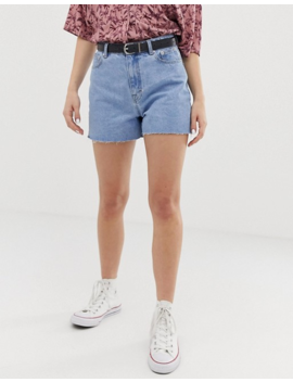 Pull&Amp;Bear Clean Mom Short In Light Blue by Pull&Bear