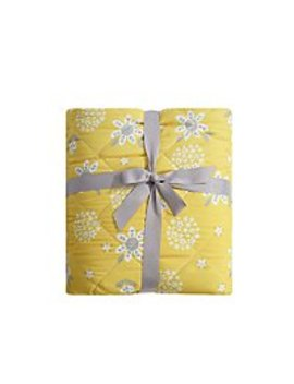 Yellow Floral Quilted Reversible Throw by Asda