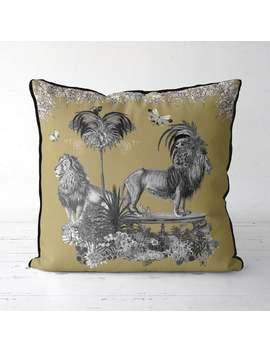 Lion Pillow Gold Pillow   Livoris Feritas Lion Gold   Gold Decor Designer Pillow Cover Jungle Tropical Decor Tropical Pillow Mustard Throw by Etsy