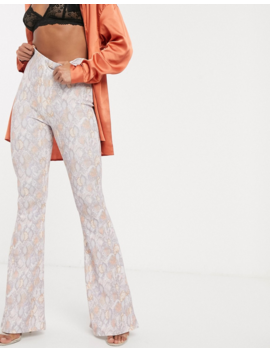 Missguided Exclusive Flare Trouser In Snake Print by Missguided