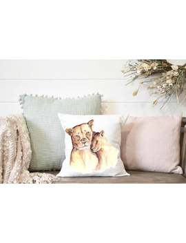 Mother And Baby Loin Square Pillow, Throw Pillow, Home Decor, Nursery Pillow, Baby Shower Gift, Gift For Her, Kid Decor, Home Decor For Her by Etsy